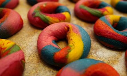 Rainbow Beigels at the Beigel Shop at 155 Brick Lane.