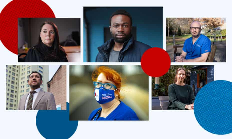 (Clockwise from top left) Nicola Richards, Lobby Akinnola, Prof. Christina Pagel, Carmel O'Boyle and Dr Arif Dasu.