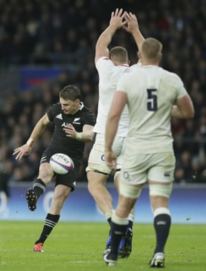 New Zealand's Beauden Barrett scores a drop goal.