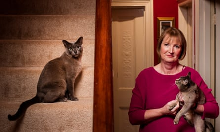 Harriet Harman, at home with her cats in south London.