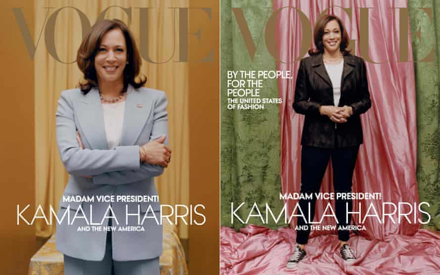The original image of Kamala Harris, at right, sparked anger and will be replaced with the left image, previously used online.