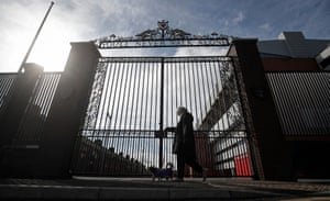The closed gates at Anfield on 13 March, the day that the Premier League was suspended due to the coronavirus outbreak.