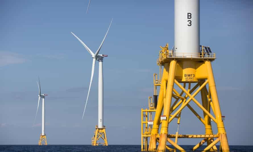 Turbines off Block Island, south of Rhode Island.
