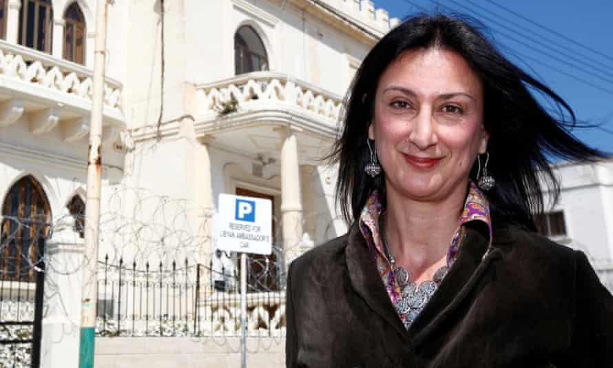 Daphne Caruana Galizia outside the Libyan Embassy in Valletta, Malta.