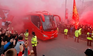 Liverpool were given a huge boost in the second leg against Barcelona by their home support, seen here cheering the team bus before the game.