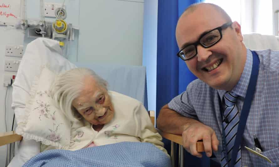 112-year-old Gladys Hooper with surgeon Jason Millington