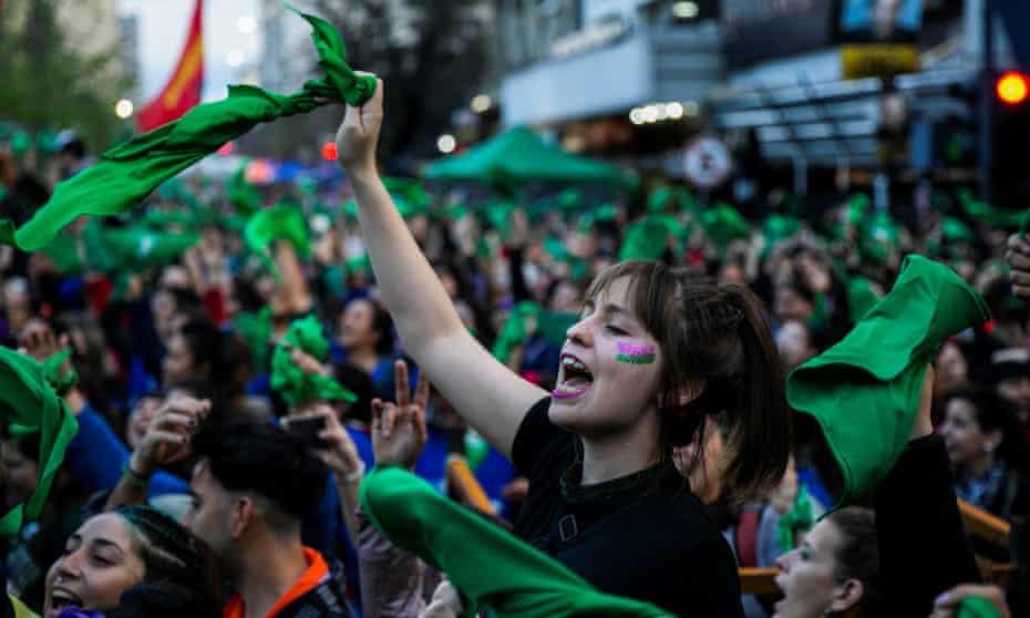 Pro-choice protesters in La Plata, Argentina, last month