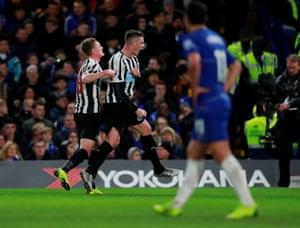 Newcastle United's Ciaran Clark celebrates scoring their first goal.