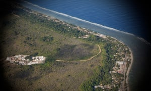 An aerial view of Nauru, where International Health and Medical Services run medical care for asylum seekers on behalf of the Australian government.