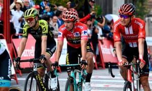 Primoz Roglic crosses the finish line in Toledo.