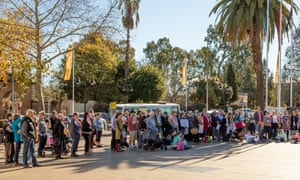 A climate demonstration in Wagga Wagga before the council voted to declare an emergency