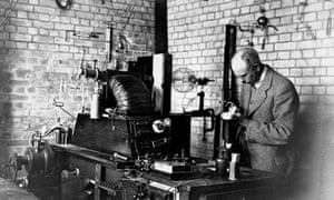 Francis Aston in his laboratory at Cambridge University. In 1922 he was awarded the Nobel prize for chemistry for his discovery of isotopes