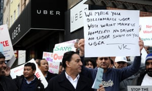 Uber drivers protest cuts to fare and an increase in commission charged to drivers in Queen, New York, February 2016.