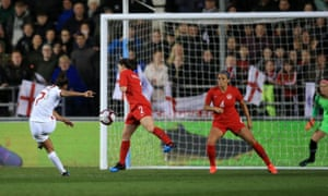 Nikita Parris comes close to scoring for England during their defeat against Canada.