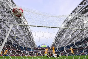 Australia's Tomi Juric scores against Germany during the 2017 Confederations Cup match.