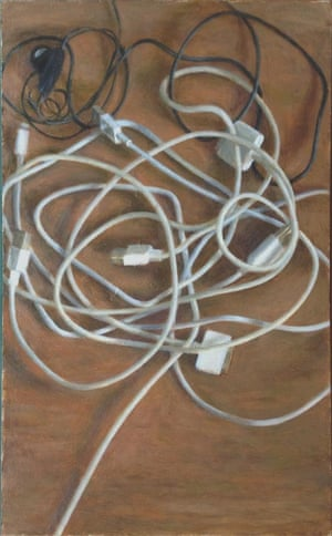 Wires, 24.09.2014 Oil on card, 28cm x 15cm