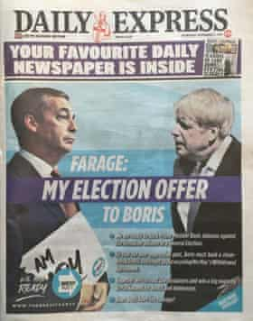 The Brexit party wraparound in the Daily Express.