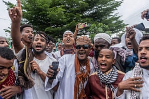 Muslim worshippers sing songs during to the Eid al-Adha prayers on the first day of the feast, at the Millennium Square in Hawassa, Ethiopia