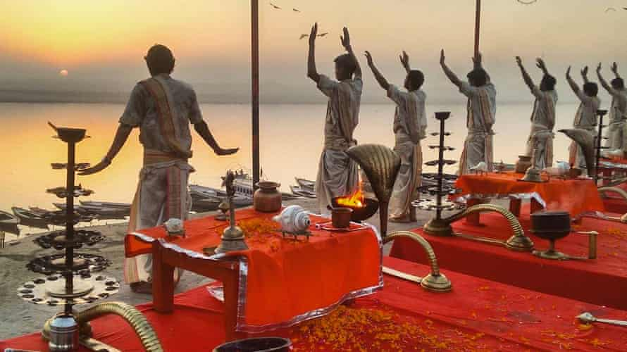 Morning prayers on the ghats of the river Ganges in Varanasi, that most holy of Indian cities.