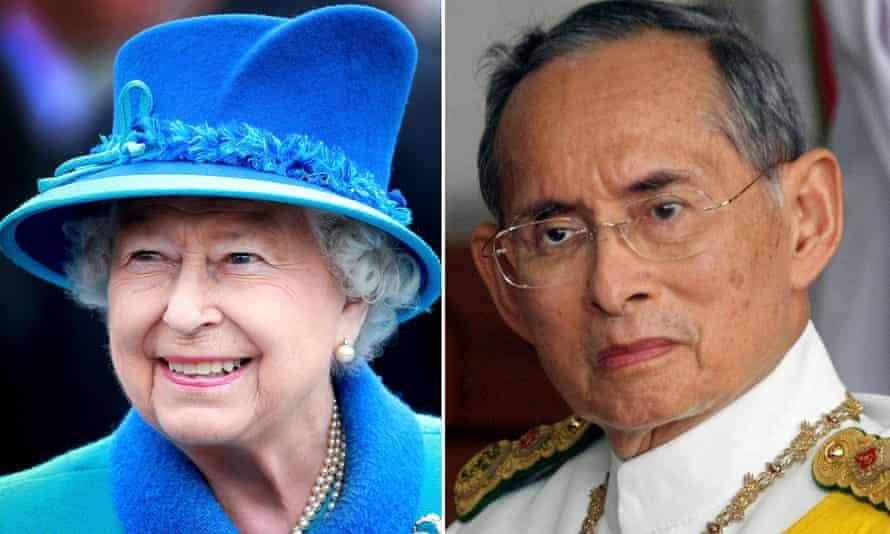 Queen Elizabeth II and King Bhumibol Adulyadej of Thailand, right.