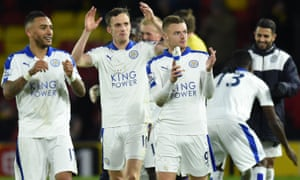 Jamie Vardy and Leicester's players applaud their fans after the 1-0 win at Watford.