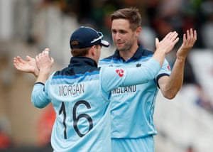 Woakes and Morgan celebrate.