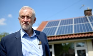 Labour Party leader Jeremy Corbyn views houses with solar panels on Mereside Grove in Worsley.