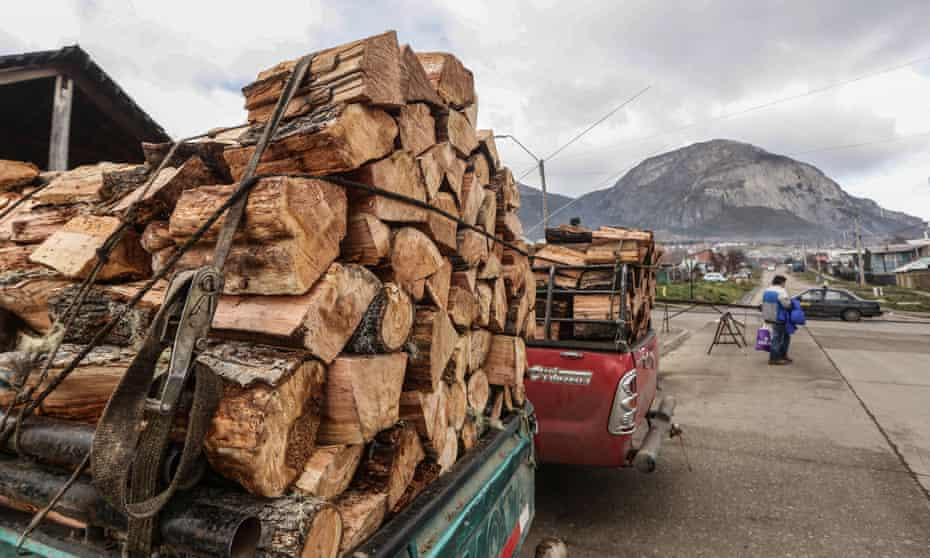Firewood loaded on to trucks in downtown Coyhaique.