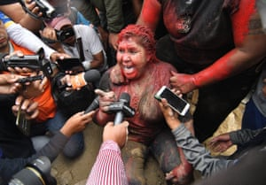 Vinto, BoliviaThe Mayor of Vinto, Patricia Arce, speaks to the media after being attacked by a crowd that sprayed her with paint, cut her hair and dragged her down the street until she was rescued by the police.