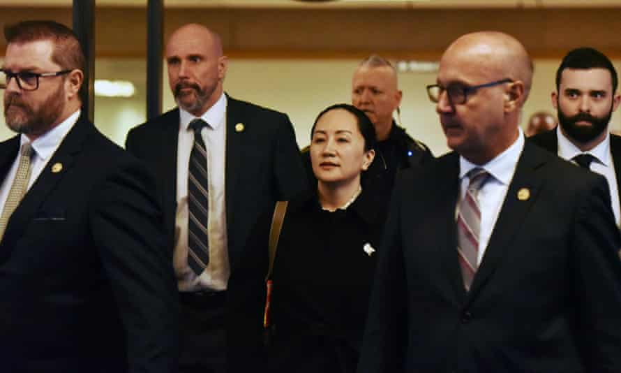 Huawei chief financial officer Meng Wanzhou leaves court Thursday in Vancouver, British Columbia.
