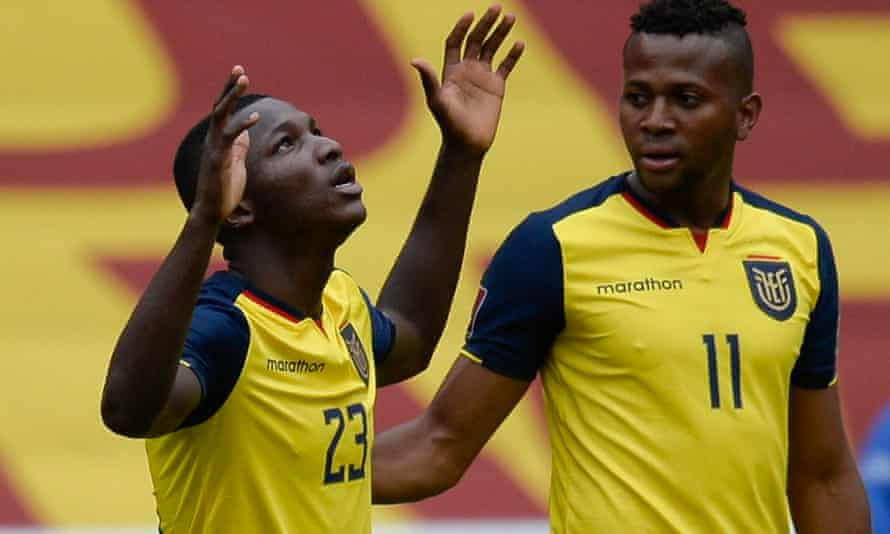 Moises Caicedo celebrates after scoring for Ecuador against Uruguay during their World Cup qualifier in October