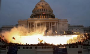 Trump loyalists protest outside the front of the US Capitol building
