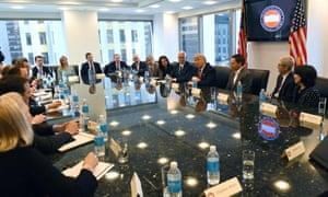 From left: Trump, Trump, Trump, somebody, Bezos, Page, Sandberg, Pence, Trump again, Thiel, Cook, Catz.
