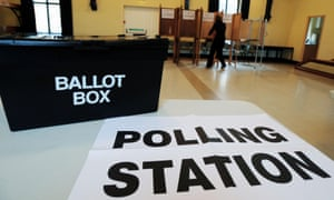 The polling station at Market Hall in Swadlincote, Derbyshire.