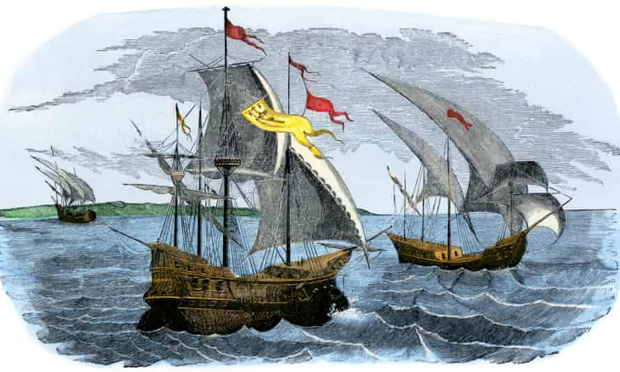 Illustration of the Spanish ships of Hernán Cortés sailing to Mexico 500 years ago