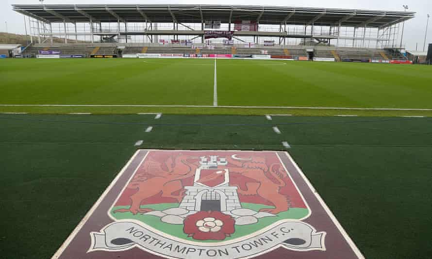 Photograph of the unfinished East Stand at Northampton's Sixfields stadium.