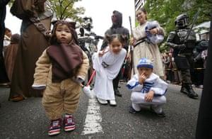 Star Wars fans wait for the start