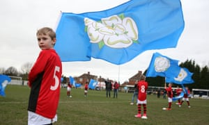 Players ran on to the pitch flanked by local schoolchildren clutching flags bearing with the white rose of York.