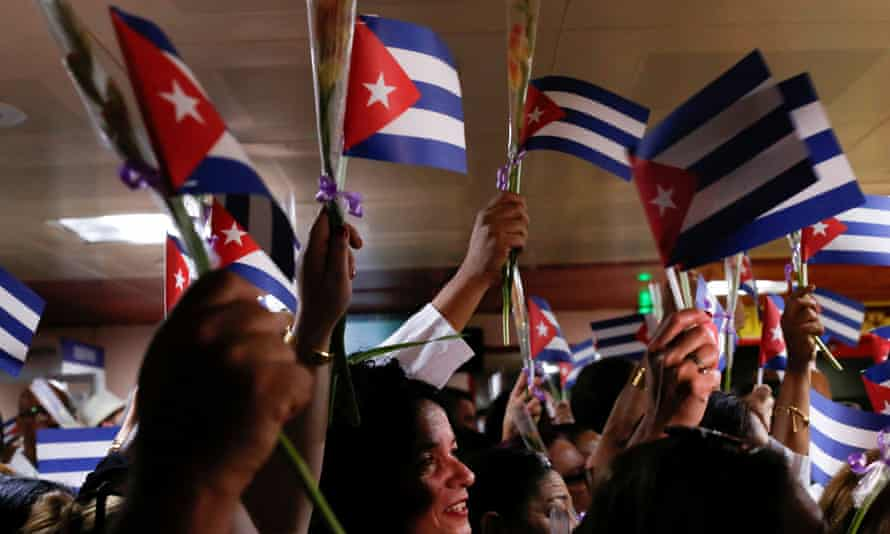 Cuban doctors coming back from Bolivia take part in a a welcome ceremony at Jose Marti International Airport in Havana, Cuba, on 16 November 2019.