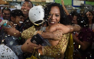 Celebrations erupt in Mumbai after the supreme court unanimously ruled to decriminalise homosexual sex in a landmark judgment for gay rights.