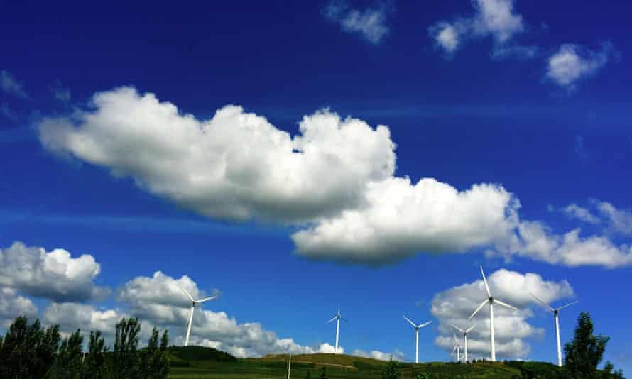 Wind turbines near Jiamusi, in northeastern China's Heilongjiang province