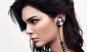Kendall Jenner wearing Buttons headphones