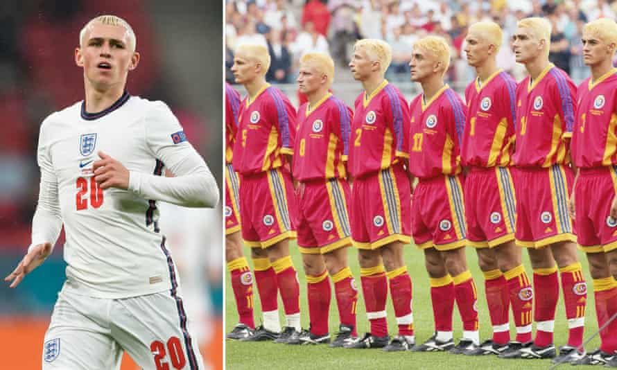 England's Phil Foden and Romania's 1998 World Cup team.