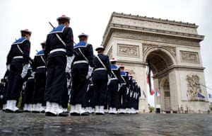 Paris, France. Soldiers from a naval school take part in a ceremony to mark the end of World War II at the Arc de Triomphe