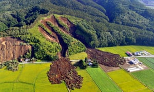 The aftermath of a large landslide that occurred after an earthquake hit Hokkaido, in northern Japan.