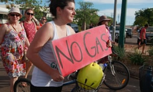 Broome residents protest about planned large-scale gas developments in the region.