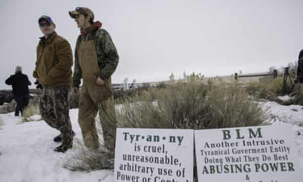 Members of the 'militia' monitor the entrance to the wildlife refuge in Oregon.