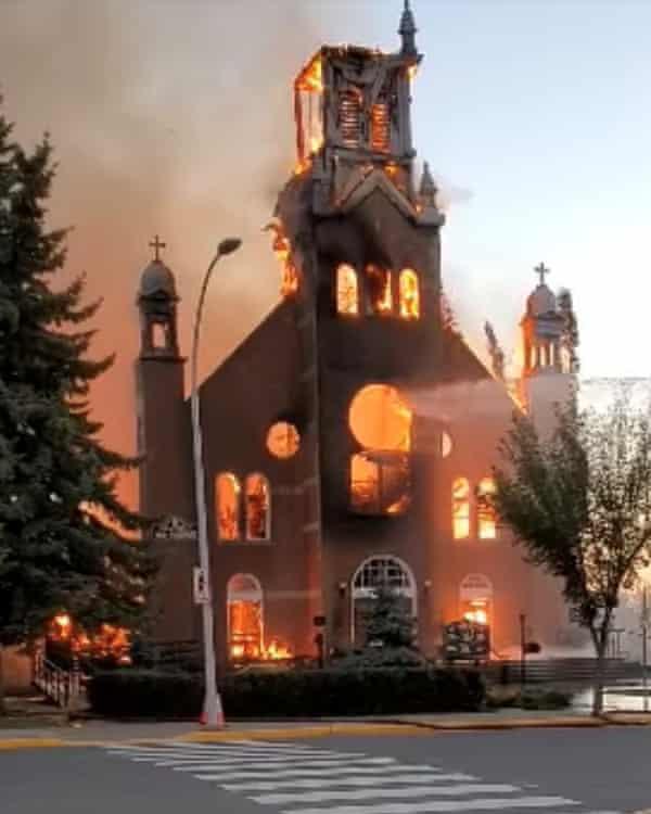 Fire destroys a Catholic church in Morinville, Alberta.