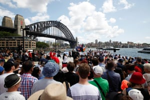 A citizenship ceremony on Sydney Harbour foreshore during Australia Day celebrations in 2016.