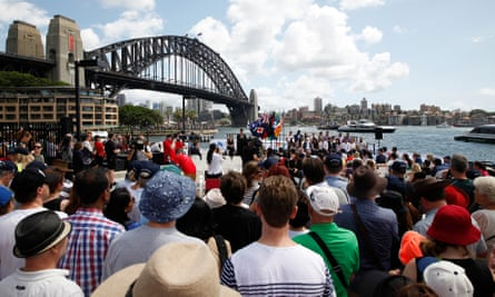 A citizenship ceremony in the harbour during Australia Day celebrations in Sydney, Australia, January 26, 2016.